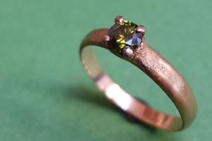 Gold Engagement RIng with Green Diamond